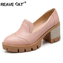 REAVE CAT Concise Round toe Platforms Mid heels Pumps Big size 34-43 Spring Autumn Fashion shoes Causal Women shoes Black PL942(China)