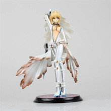 Japanese Anime Fate Stay Night Figuras Wedding Dress Saber Nero Action Figure Model Toys Sexy Home Office Decor 22cm