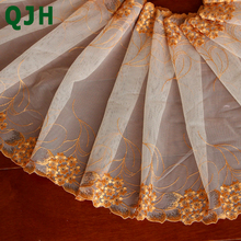 QJH 1 yard Sun flower shape 3 colors Bilateral Embroidered Net Lace Trim Ribbon for Best Wedding Dress Skirt Sewing Accessories
