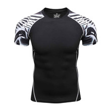 Compression Shirts 3d Print Style Short Sleeve Multiuse MMA Crossfit Tops Budybuilding Weightlifting Shirts Men Quick Dry Shirt