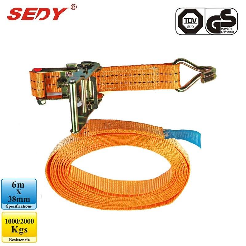 Tie Down Straps 6m x 38mm Tenser Ratchet Retractable Adjustable Belt Ropes<br>