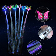 1PCS Butterfly shape LED Shining Hair Barrette Flash LED Fiber Hairpin Clip Light Up Headband Party Glow Supplies Color Random(China)