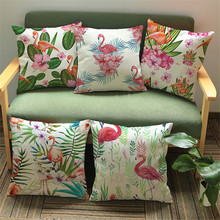 Flower Flamingo Series Cushion Cover Printed Square Pink Flamingo Cotton Linen Sofa Animal Home Decorative Throw Pillow Cover