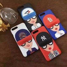 ZMASI Cool Sunglasses Baseball Cap Girl Kickstand Case for iPhone 7 7plus 6 6s plus Hard Plastic Back Case Funda Cover