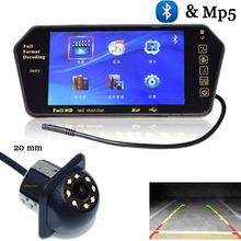 "Buy 7"" 1024*600 Car Rear Monitor Mirror Bluetooth MP5 Screen 12v Car Rear view camera 8 LED Reverse Camera auto parking System for $54.52 in AliExpress store"