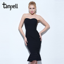 Tanpell strapless cocktail dress black sleeveless knee length mermaid gown women hourglass party formal short cocktail dresses(China)