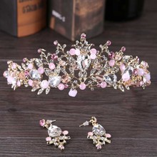 Handmade Gold Tiaras for Wedding Pink Crystal Bride Headpiece Bridal Hair Accessories Jewelry Tiaras Set for Brides SL