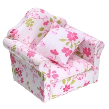 ABWE Best Sale 1/12 Scale Dollhouse Miniature Furniture Wooden Recliner Chaise Couch Sofa Pink(China)