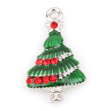 Design Zinc Alloy White K Drop Oil Green Christmas Tree Shape Point Red Diamond Pendant Fit Necklace and Jewelry Making 148502
