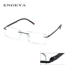 ENGEYA Retro Optical Clear Lens Rimless Glasses Frame Myopia Computer Eyeglasses Men Prescription Eyewear Unique Hinge 8 Colors