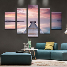 Figure 5 board pictures with sky modern home decoration painting on the canvas print news photo wall art can framework(China)
