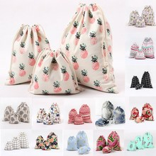 1set/3pcs Flower Drawstring Cotton Linen Storage Bag Gift Candy Tea Jewelry Organizer Makeup Cosmetic Coins keys Bags 49086