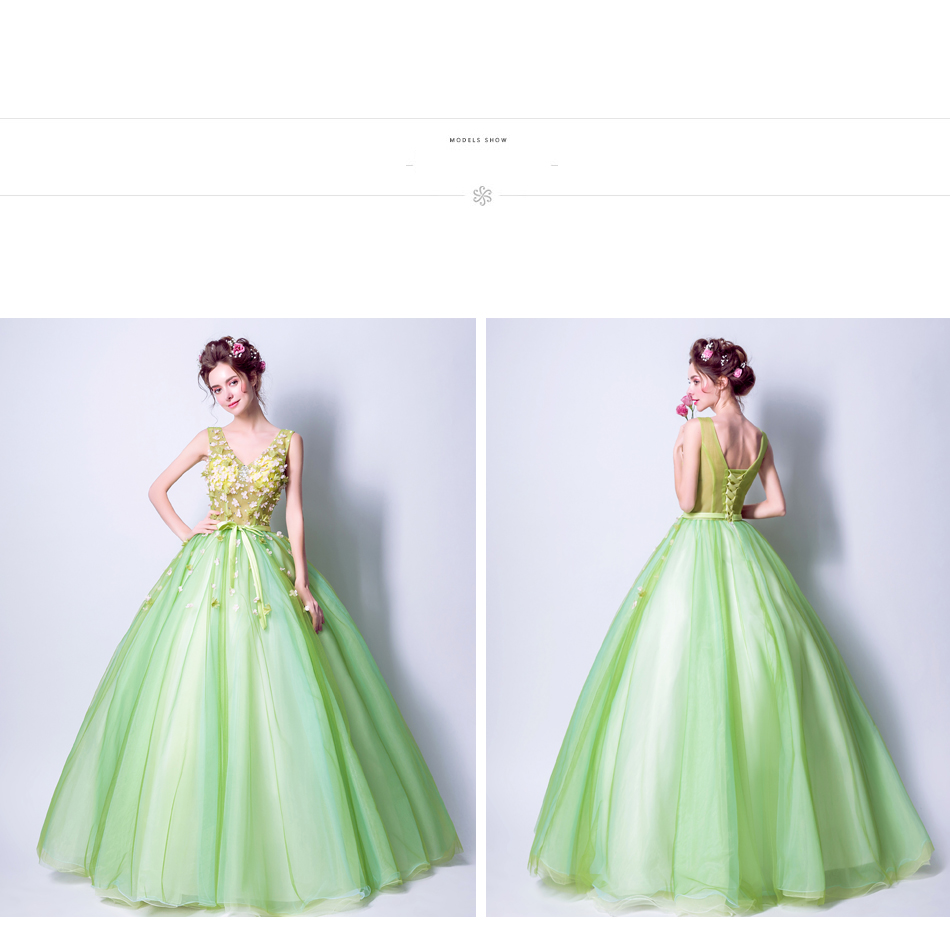 Angel Wedding Dress Marriage Bride Bridal Gown Vestido De Noiva 2017Soft powder, Qingjian Lvxian beauty, petals, green 9718 21