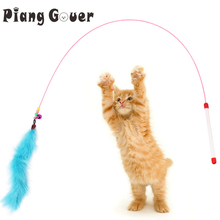Pet Supplies Cat Teaser Blue Pink Feathers Jumping Playing Toy Elastic Fun Cats Catcher Toys(China)