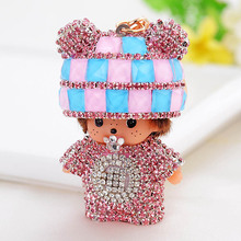 Cute Luxury Rhinestone KiKi Keychain Stand Up Monchichi Key Rings Holder Car Crystal Key Chains Women Bag Purse Jewelry Pendant