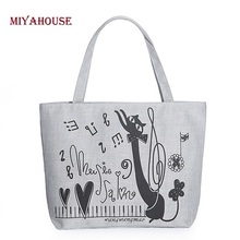 Miyahouse Women Canvas Handbag Character Cat Printed Shoulder Handbag Female Large Capacity Ladies Beach Bag Women Canvas Tote