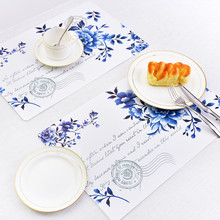 2pcs/Set Blue Rose Flower Print PVC Placemat Table Mat Dishware Coasters for DIY Wedding Party Dinner Table Cup Wine Mat P15(China)