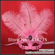 Free Shipping Hot Seller 100% Handpainted Venetian Style Rhinestone Solid Pink Feather Masquerade Party Mask