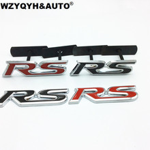 3D Metal RS Grille Emblem Sticker Badge Car Styling For Ford Focus Chevrolet cruze Kia Rio Skoda Octavia Mazda VW Hyundai Opel
