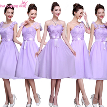 lavender lace up tea length bridesmaid dresses brides maid purple dress for girls 2017 wedding guest different styles B2879