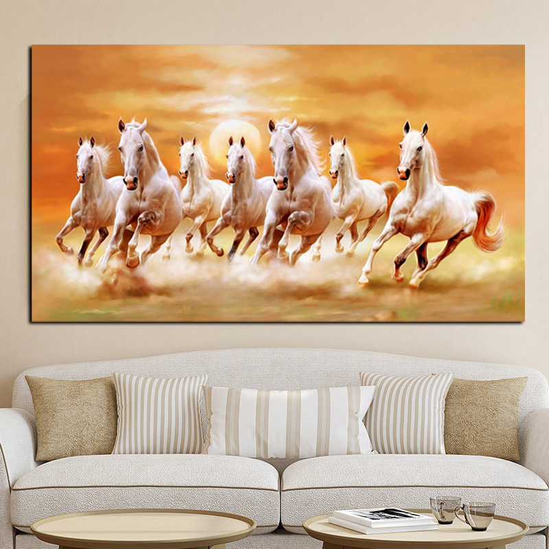 herd of horses animal canvas picture print landscape white brown black