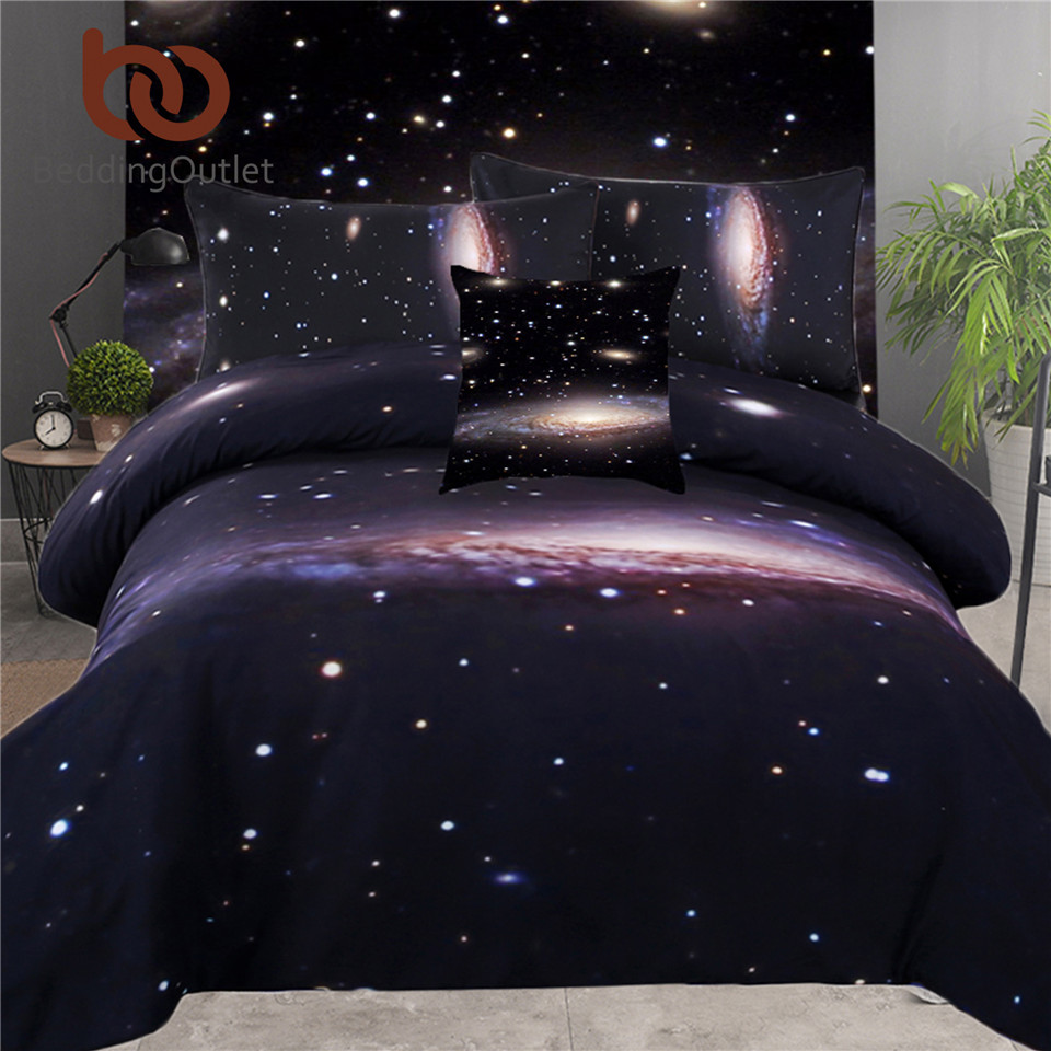 BeddingOutlet 5pcs Bed in a Bag Bedding Set 3d King Size Galaxy Bed Cover Set Discount Bedspread Queen for Bedroom(China)