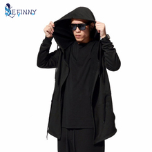 Men Black Cloak Hoodies Long Sleeve Streetwear Hooded Sweatshirts Loose Pullover Outwear For Male women's hoodies(China)