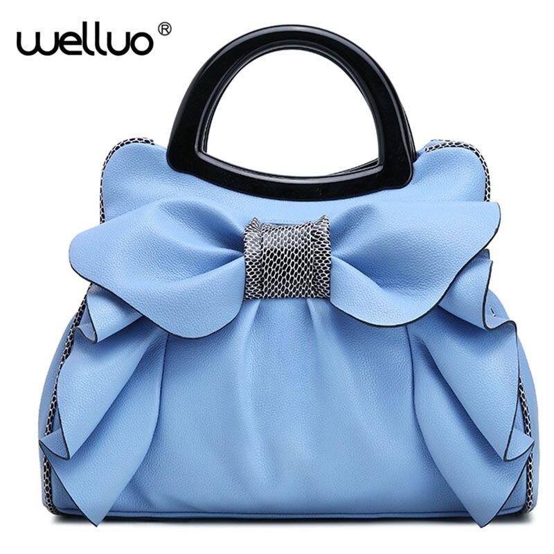 Women PU Leather Handbags Bowknot Serpentine Patchwork Tote Wristlet Bag Ladies Top-handle Shoulder Bag Sac a Main Femmes XA249B<br>