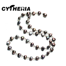 CYTHERIA Bohemian charm design pearl necklace, long necklace, double wearing method fine jewelry Profiled pearl jewelry necklace