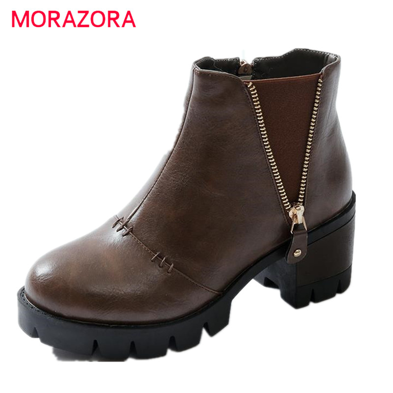 MORAZORA Hot new arrival autumn spring  shoes woman ankle boots for women zip top quality round toe fashion shoes platform boots<br>