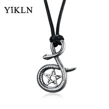 YiKLN Brand Black Leather Chain Snake Pendant Necklace Men Jewelry Stainless Steel Snake Pendant Necklace Gife For Male YPN850(China)