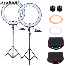 Andoer LA-650D 2pcs LED Ring Light Kit Selfie Video Light with Light Stand Orange Filter White Soft Filter Stand Mount Adapter