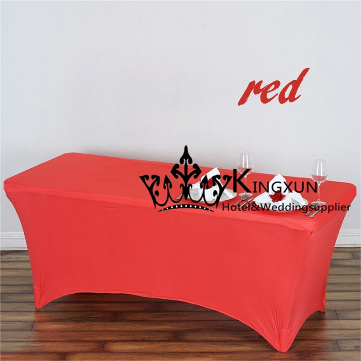 Red Color Long Rectangular Spandex Table Cover \ Table Cloth For  Wedding(China (Mainland