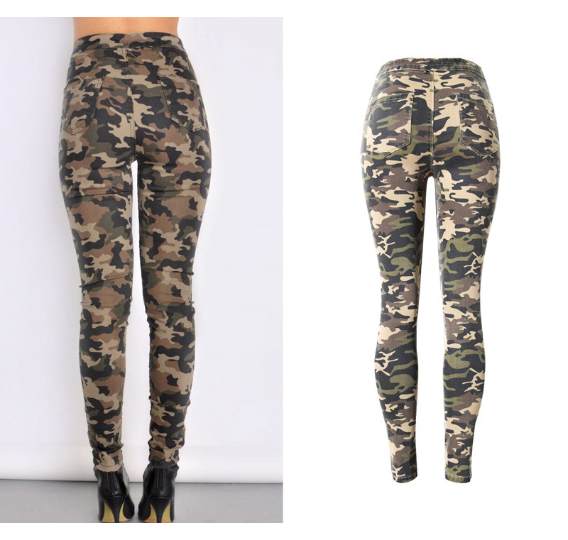 2017 New Brand Women Fitness Cloth Camouflage High Waist Elastic Stretch Holes Jeans Pencil Pants Street Style Denim Trousers (4)