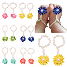 Baby Girls Barefoot Flower Pearl Foot Band Toe Ring Floral Wedding Sandals Socks Anklets Prop Headband Hair Band Accessories 1pc