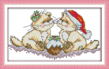 Lovely Christmas Cats Cartoon DMC Cotton Cross stitch kits 14CT White 11CT Printed Embroidery DIY Handmade Needlework Home Decor