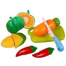 6Pcs/Set Plastic Fruit Vegetable Kitchen Cutting Funny Toys Early Development and Education Toy for Baby Kid Toy Color Practical(China)