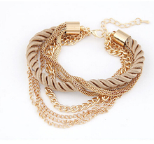 2015 New Fashion Luxury Braided Multilayer Bracelet Alloy Bangle Fashion Jewelry Pulseras Women Bracelet XY-B163