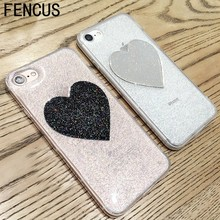 For i7/6s Glitter Peach Heart Jelly Phone Case Candy Soft Silicone TPU Love Case For iphone 7 7plus 6 6s 6plus Shell Back Cover