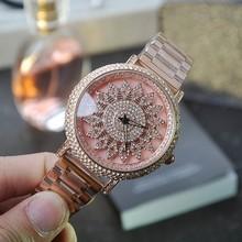 Ladies Luxury Rhinostone Rotatable Dial Quartz Watch Women Delicate Rose Gold Stainless Steel Strap Wristwatch Relogio Feminino