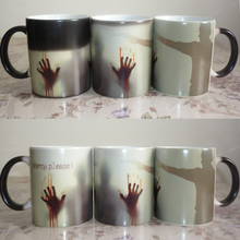 New Arrive Mercy please The Walking Dead Mugs morphing coffee mugs zombie mug novelty heat changing color mug cup