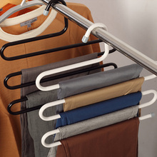 Home S-shaped Stainless Steel Pant Holder Tie Rack for Clothes Hanger Organizer Travel Closet Sliding Pants Hanging Space Saver