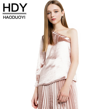 HDY Haoduoyi 2017 Fashion Asymmetrical Tops Women One Shoulder Female Solid Shirts Brief Style Casual Ladies Blouses Shirts