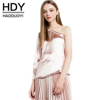 Hdy haoduoyi 2017 de la moda asimétrica camisas tops de las mujeres de un hombro sólido femenino breve estilo casual de las señoras blusas camisas