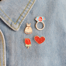 4 pcs/set Heart Rose Flower Skirt Dress Brooch Pins Button Fashion Cartoon Icon Pin For Women Jacket Collar Lapel Badge Jewelry