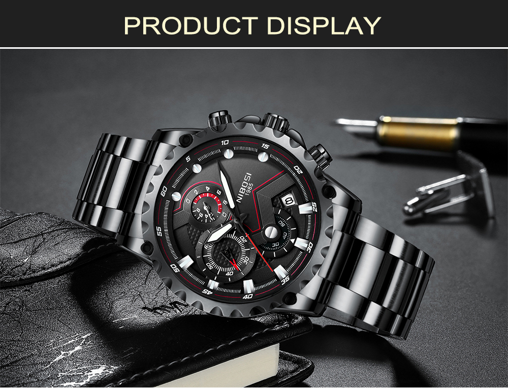 Military Watches Men Quartz Analog Men Watches Stainless Steel Time Date Clock Men Luxury Brand Hot Famous Brand Watches NIBOSI  (11)