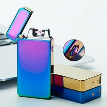 2017 New Electronic Cigarette lighter USB charging Double arc pulse cross ligthers Metal novelty smoking lighter Windproof