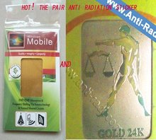 Manufacture Hotsale-Gold 24K anti mobile radiation sticker+Anti radiation battery enhancer chips(free shoping(China)