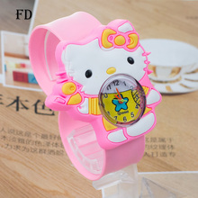 FD hello kitty Pattern 3D Rubber Strap Children Sports Watch Hot Cartoon Casual Girl Kids Quartz Wristwatch 2017 Cute baby Clock(China)