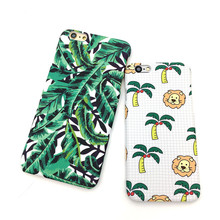 Meachy Fashio Cartoon Lion Banana Leaf Case For iPhone 7 Plastic Frosted Hard Shell For iPhone 6 6s s 7 Plus Phone Cover  E78